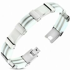 Bracelet with Link Stainless Steel with Rubber White