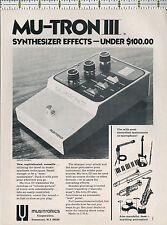 Musitronics Corp Mu-Tron III pedal synthesizer 1973 magazine print ad