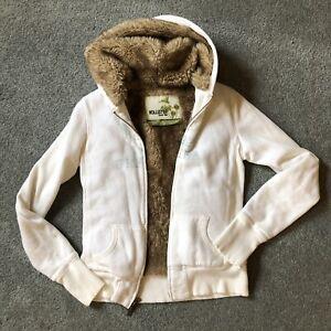 Hollister Faux Fur Hoodie Womens Small Beige Full Zip Long Sleeve Sweatshirt