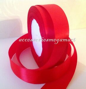 22m Satin Ribbon single 25mm 1 inch wide RED basic color wedding christmas x 2