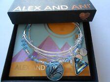 Alex and Ani Blue Lotus Set of 3 Bangle Bracelet Shiny Silver NWTBC