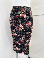 PLEIONE Black Floral Knit Side Ruched Slit Women's MIDI Skirt Size Small