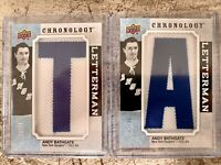 "2018-19 UD CHRONOLOGY 2x ANDY BATHGATE LETTERMAN ""T"" & ""A"" PATCH /35 RANGERS LOT"