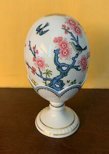 Minton Limited Edition Egg with Stand #1212 out of 3500, Bone China, birds trees