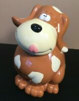 "Vintage Ceramic Puppy Dog Still Coin Piggy Bank Brown w/Spots 6"" Long 7.5"" High"
