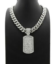 "DOG TAG PENDANT DIAMOND 20"" CUBAN LINK CHAIN NECKLACE SILVER HIP HOP ICED BLING"