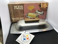 MCM Butter Dish Stainless Steel  Wood Handle  Vintage 60's Flair by Foley