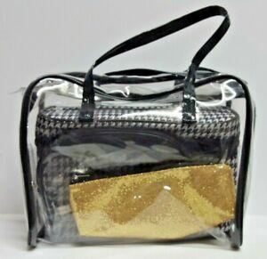 4Pcs Cosmetic Makeup  Organizer Bags Set Clear, Black/white,Squin