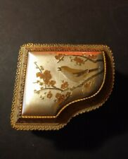 """Vintage Gold Tone Jewelry Box """"Love Story"""" Japan Metal Engraved Finch"""