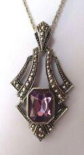 Beau collier pendentif couleur argent chaîne marcassites cristal améthyste 4450