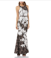JS Collections Corded Ribbon Lace Mermaid Gown Black White Ivory sz 4 NWT $410