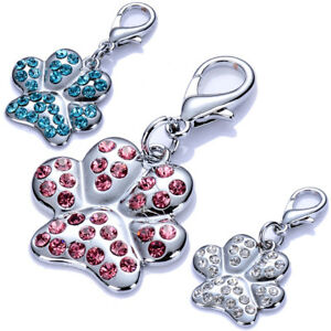 Paw Shaped Pendant Dog Collar Charms Rhinestones Pet Cat Jewelry Dog Accessories
