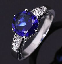 Jewelry Size 8 Round Cut Luxury Blue Topaz 18K Gold Filled Engagement Woman Ring