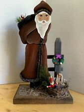 Wood Folk Art Old World Santa Christmas Decoration, 1992