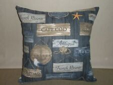 Beach Famous Coast Names Dark Blue Taupe Nautical Cushion Covers 45cm Au Made