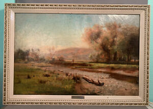 LG 19thC Antique VICTORIAN Old HUDSON RIVER VALLEY George MIKINSTRY Oil PAINTING