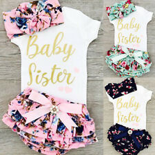 Newborn Infant Baby Girl Romper Jumpsuit Bodysuit Tops+Shorts Outfit Clothes Set