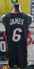 Maillot shirt jersey trikot miami heat NBA lebron james authentic Black satin XL