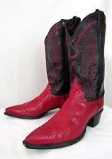 Vtg Women's JUSTIN Lizard Skin Cowboy Boots 8 to 8 1/2 B ~ RED & BLACK western