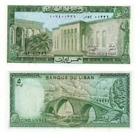 Pick 62d Libanon / Lebanon 5 Livres 1986  Unc. / 365782vvv
