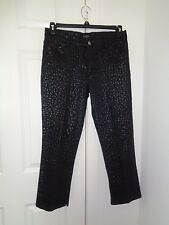 Guess Jeans Black Textured Bottom Side Slit Cotton Blend Ankle Pants Size 31