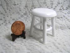 Miniature Dollhouse Short White Wooden Stool