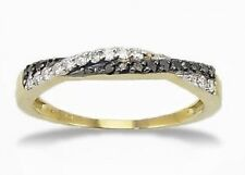 Black Diamond Band 14K Yellow Gold Black & White Diamond Twist Ring Anniversary