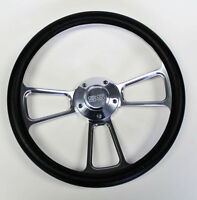 "Chevelle Nova Camaro Impala 14"" Steering Wheel Black Billet SS Center cap"