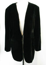 ANN TAYLOR Black Rayon And Silk, Velvet Jacket, Ties on the front Size 10