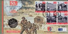 WW2 D- Day 50th anni 50p coin FDC signed Richard Todd & Piper Bill Millin