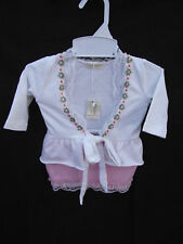 BNWT Baby Girls Sz 000 Noise Box Brand Cute Lace Stretch Cardigan & Skirt Set