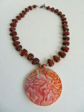 Vintage Boho Ethnic Tribal Necklace Wood Beads and Large Round Shell Pendant