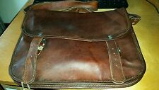 Vintage Canvas RealGoat Leather Messenger Shoulder Bag Travel Satchel