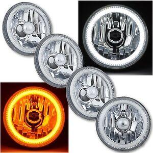 """5-3/4"""" Switchback White LED DRL Angel Eye Halo / Amber Turn Signal Headlight Set"""