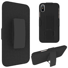 For Apple iPhone X - HARD COMBO HOLSTER KICKSTAND CASE COVER w/ BELT CLIP BLACK