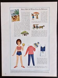 Vintage Betsy McCall Mag. Paper Doll, Betsy Writes from the Bahamas, Feb. 1964