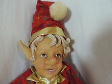 "Vintage 25"" Christmas Holiday Santas Elf Doll #3 Hard Plastic & Fabric Poseable"