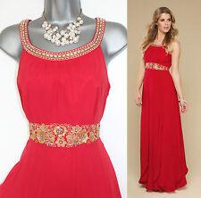 MONSOON UK 12 Red Ariel Lending Embellished Bridesmaid Cocktail Party Long Dress