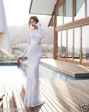 Long Sleeve Lace Boat Neck Mermaid White/Ivory Wedding Dress Bridal Gown Custom