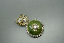 Vintage Miriam Haskell green art glass rhinestones beaded filigree brooch