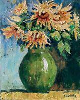 Sunflowers Flowers Impasto Impressionism Original OIL PAINTING by IDKOWIAK