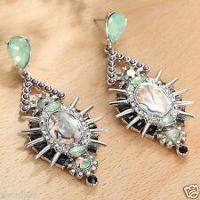 Handmade  1pair Woman's Multi Crystal Rhinestone Long Ear Stud Hoop earrings 125
