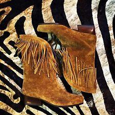 Charles Jourdan Suede Fringe Vintage Boots