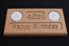 21st 30th 40th 50th 60th Oak Birthday Anniversary Gift Tea Light Candle Holder