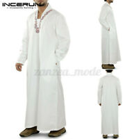 Mens Islamic Clothing Saudi Arab Long Sleeve Thobe Jubba Kaftan Wedding Dress UK