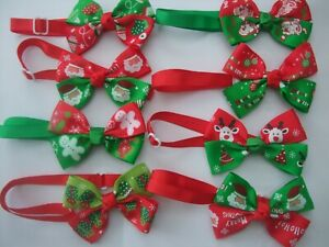 Christmas Cat collar bow tie, Small Dog Adjustable Neck Tie Pet Accessories