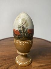 Vintage Hand Painted Wooden Egg With Stand Figurine