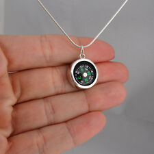 Round Working Compass Necklace - 925 Sterling Silver -Charm Pendant Direction SN