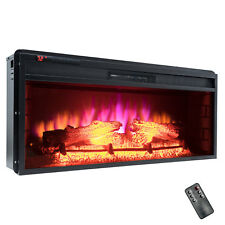 "Insert Free Standing Black 36"" Electric Fireplace Firebox Logs Glow Flame Heater"