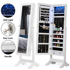 Full Length LED Mirrored Jewelry Cabinet Armoire Storage Organizer Box 2 Drawers